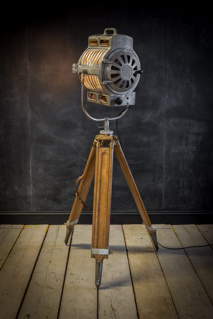 Antique theatre lamp by ARRI with original branding on the lamp head