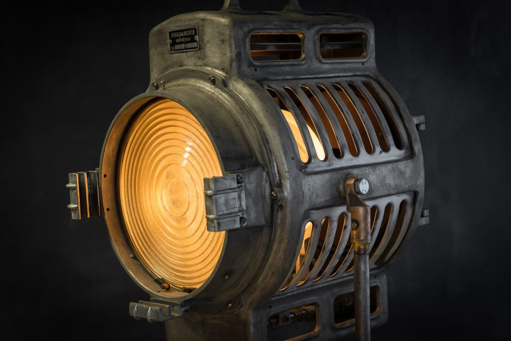 Vintage theatre lamp by ARRI with original branding