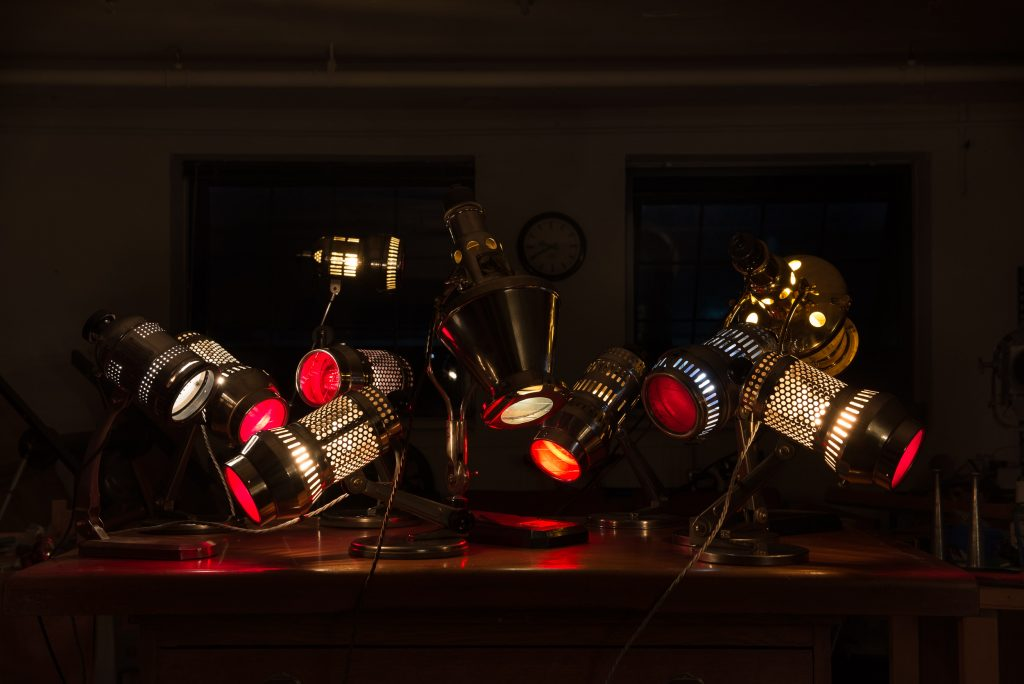Collection of German heat lamps by Johannes Richter Jr and Original Hanau